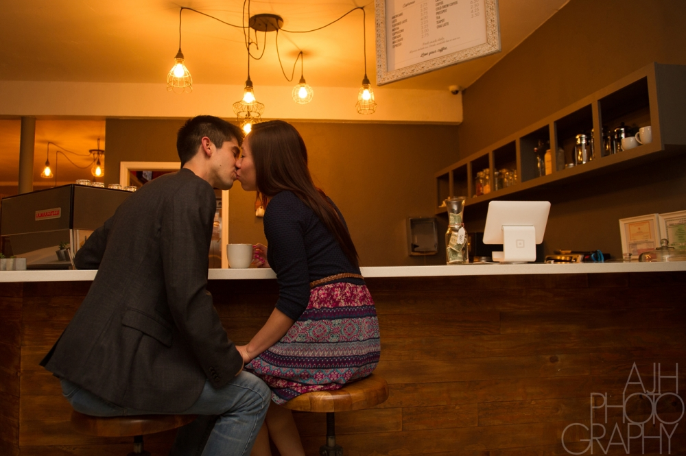 Coffee Shop Engagement Photography